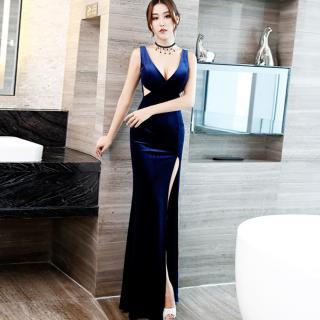 ロングスリットでセクシーに シンプルエレガントなマキシ丈のボディコンキャバドレス 3色