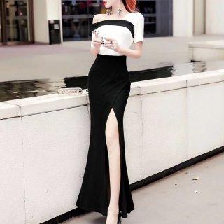 アシメデザインがおしゃれ スタイリッシュなバイカラーのマキシ丈セクシーワンピース ドレス 2色
