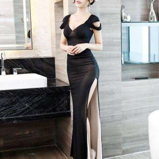 エレガントでセクシーな海外デザイン ロングスリットのボディコンキャバドレス 3色
