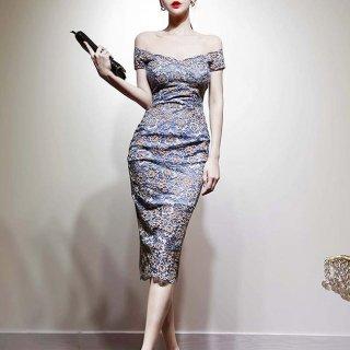 人気の海外デザイン 上品セクシーな総レースの膝丈オフショルタイトドレス