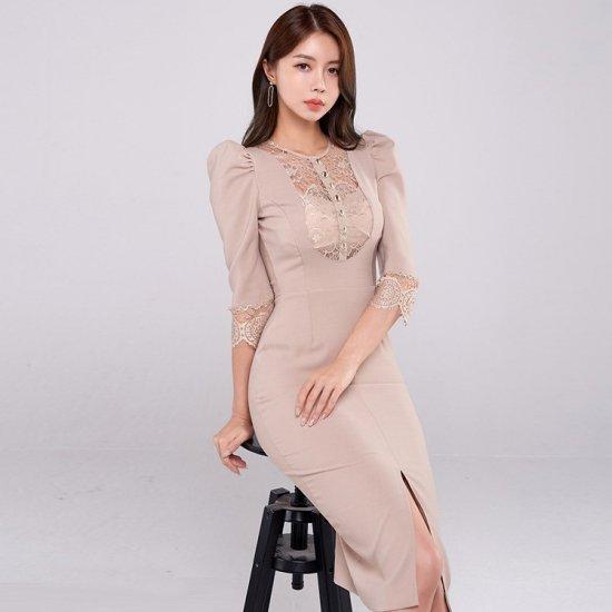 デートや同伴にもおすすめ 大人かわいい胸元刺繍レースの膝丈タイトワンピース