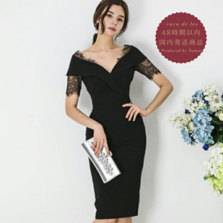 【即納】人気の海外デザイン チラ見せレースが上品かわいい膝丈ボディコンワンピース ドレス
