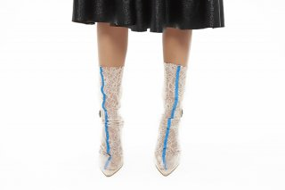 EMBROIDERY LINED LACE SOCKS<br>BEIGE x BLUE