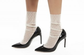 DOT TULLE SOCKS<br>IVORY