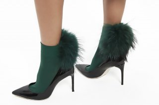 RACCOON FUR SOCKS<br>GREENxGREEN