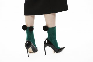 BIG POMPOM SOCKS<br>GREENxBLACK