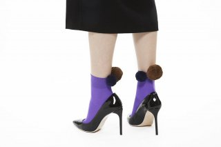 BIG POMPOM SOCKS<br>PURPLExBROWNxNAVY<img class='new_mark_img2' src='//img.shop-pro.jp/img/new/icons20.gif' style='border:none;display:inline;margin:0px;padding:0px;width:auto;' />
