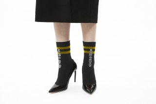 LINED BIJOUX SOCKS<br>BLACKxGRAY