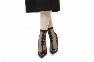LINED BOW SEE THROUGH SOCKS<br>BLACKxBLACK