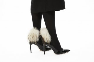 1712013/BLACKxWHITE<br>RACCOON FUR TIGHTS