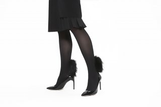 RACCOON FUR TIGHTS<br>BLACK×BLACKの商品画像