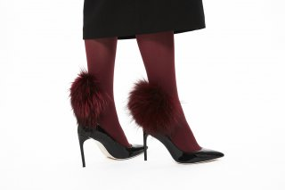 RACCOON FUR TIGHTS<br>BORDEAUX