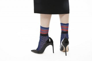 GLITTER LAYERD FISHNET SOCKS<br>BLUExRED