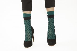 LAYERD FISHINET SOCKS<br>GREENxBLACK