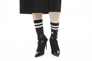LINED COLOR BIJOUX SOCKS<br>BLACK