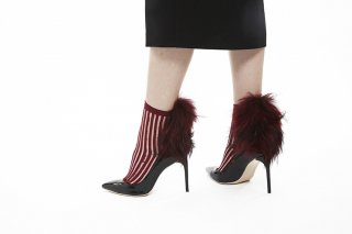 1712006/BORDEAUXxBORDEAUX<br>SEE-THROUGUH STRIPED RACCOON SOCKS