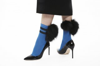 1712005/BLUExBLACK<br>LINED MIX FUR SOCKS