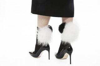 1712005/BLACKxBLACKxWHITE<br>LINED MIX FUR SOCKS