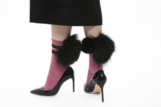1712005/PINKxBLACKxBLACK<br>LINED MIX FUR SOCKS