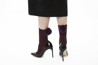 REX POMPOM SOCKS<br>PURPLExPURPLE