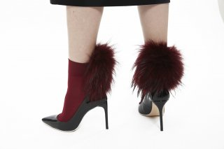 1712001A/BORDEAUX<br>RACCOON FUR SOCKS