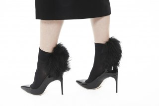 <b><font color='red'>NEW</font></b> 1811001/BLACKxBLACK<br>RACCOON FUR SOCKS