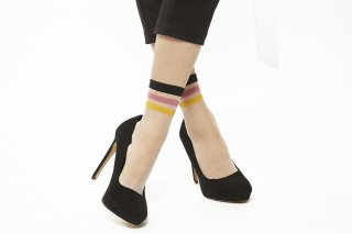 LINE SEE-THROUGH SOCKS<br>PINKxYELLOW<img class='new_mark_img2' src='https://img.shop-pro.jp/img/new/icons20.gif' style='border:none;display:inline;margin:0px;padding:0px;width:auto;' />