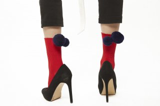 LONG POMPOM SOCKS<br>REDxNAVY