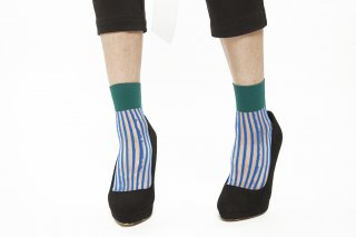 1711007/BLUExGREEN<br>STRIPED SEE-THROUGH SOCKS
