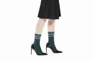 LINED GINGHAM CHECK SOCKS<br>GREEN