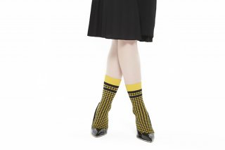 LINED GINGHAM CHECK SOCKS<br>YELLOW