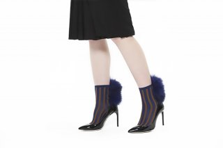<b><font color='red'>NEW</font></b> 1811003/CAMELxNAVY<br>STRIPED RACCOON FUR SOCKS