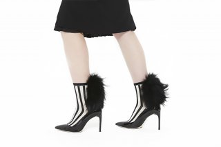 <b><font color='red'>NEW</font></b> 1811003/OFFxBLACK<br>STRIPED RACCOON FUR SOCKS