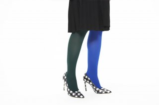 SLIM FIT RIBBED TIGHTS<br>GREEN x BLUE