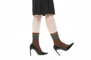 LINED LEOPARD SOCKS<br>BROWN x GREEN