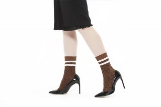 LINED LEOPARD SOCKS<br>BROWN x WHITE