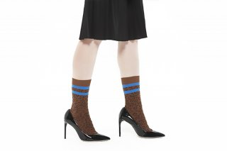 LINED LEOPARD SOCKS<br>BROWN x BLUE