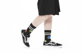 FLOWER JACQUARD SOCKS<br>BLACK