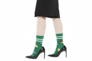 FLOWER JACQUARD SOCKS<br>GREEN