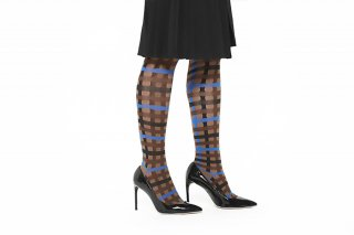 CHECK JACQUARD KNEEHIGH SOCKS<br>CAMEL