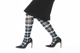 CHECK JACQUARD KNEEHIGH SOCKS<br>GREEN
