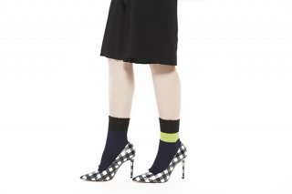 ASIMETRIC COLOR BLOCK SOCKS<br>NAVY