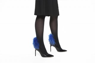 <b><font color='red'>NEW</font></b> RACCOON FUR TIGHTS<br>BLACK x BLUE