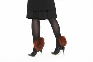 RACCOON FUR TIGHTS<br>BLACK×ORANGEの商品画像