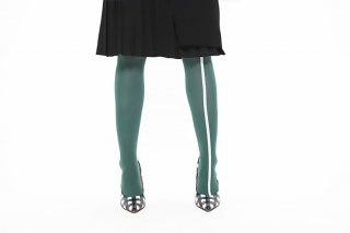 ASIMETRIC LINED TIGHTS<br>GREEN