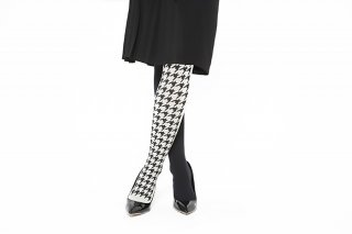 <b><font color='red'>NEW</font></b> ASIMETRIC HOUNDSTOOTH TIGHTS<br>BLACK x OFF