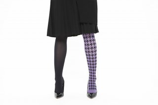 ASIMETRIC<br>HOUNDSTOOTH TIGHTS<br>BLACK×PURPLEの商品画像