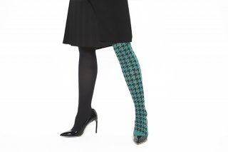 ASIMETRIC<br>HOUNDSTOOTH TIGHTS<br>BLACK×GREENの商品画像
