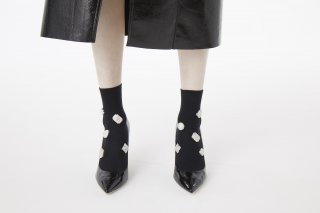 MARBLE BIJOUX SOCKS<br>BLACK×WHITE