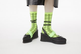 CHECK  JACQUARD SOCKS<br>NEONGREEN